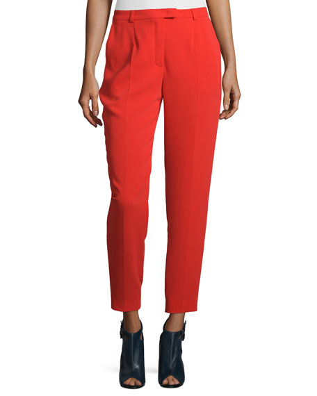 Escada Talarant Slim-Leg Ankle Pants, Red