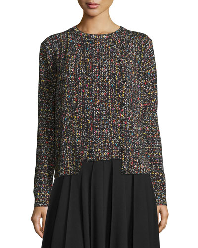 Tweed Jewel-Neck Cardigan, Multicolor