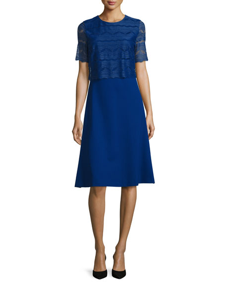 Half-Sleeve Dress w/Lace Overlay, Bluebell