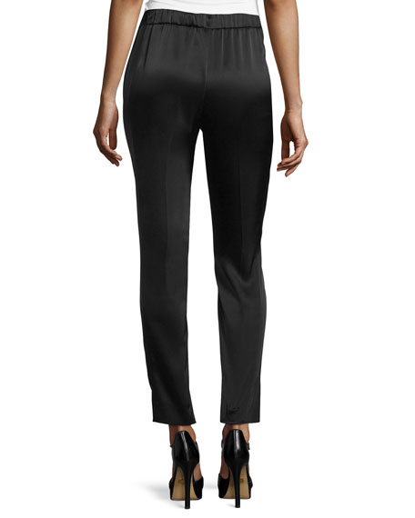 Satin Pull-On Ankle Pants, Black