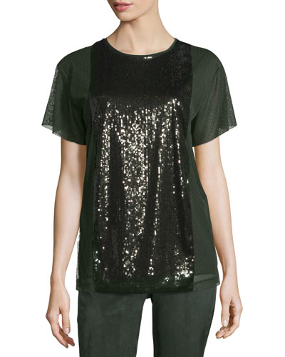Sequined Mesh-Overlay Tee, Fir