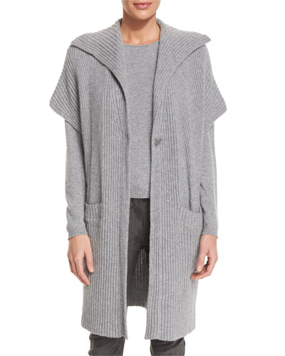 Cashmere Ribbed Gilet, Flannel