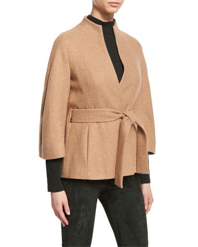 Cashmere Belted 3/4-Sleeve Jacket, Caramel