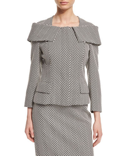 Herringbone Off-the-Shoulder Collar Jacket, Black