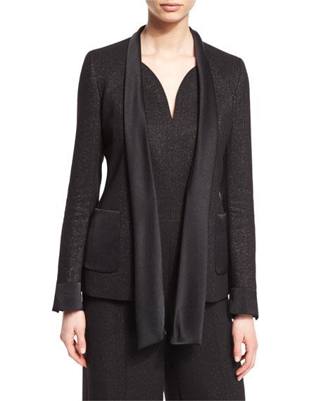 Escada Shimmery Satin-Tie Jacket, Black