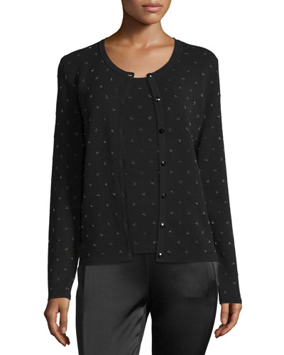 Polka-Dot Intarsia Cardigan, Black