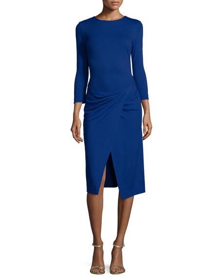 EscadaBracelet-Sleeve Faux-Wrap Dress, Bluebell