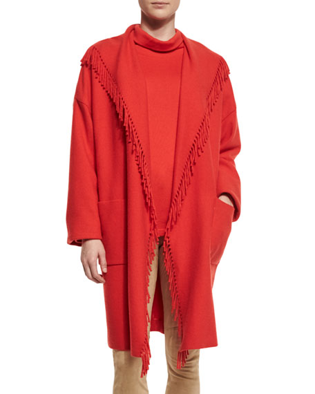 Escada Fringe-Trim Open Coat, Red