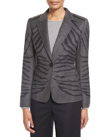 Escada Zebra-Jacquard One-Button Jacket, Flannel