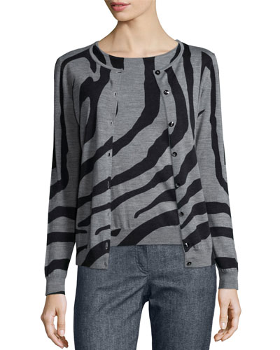 Zebra-Print Crystal-Button Cardigan, Multi