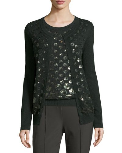 Eve Sequined-Dot Cardigan, Fir