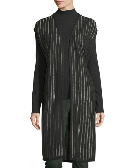 Belted Striped Knit Vest, Fir
