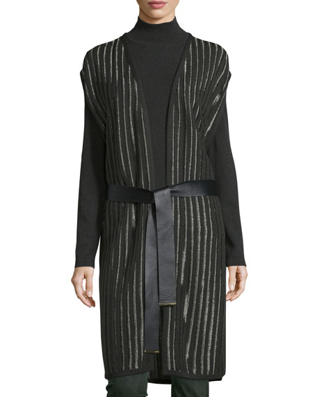 Escada Belted Striped Knit Vest, Fir
