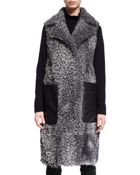 Shearling Leather-Pocket Sleeveless Coat, Flannel