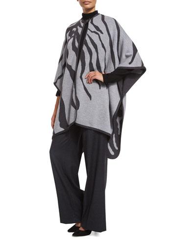Zebra-Intarsia Button-Front Cape, Multicolor