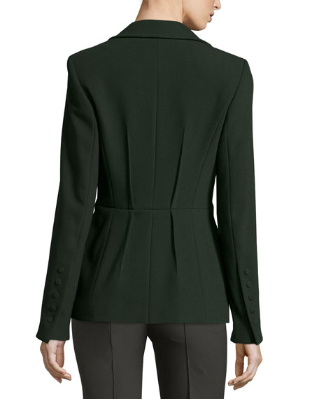 Reverse-Pleat One-Button Jacket, Fir Onsale