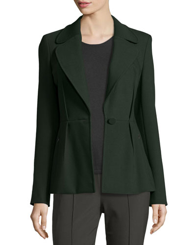 Reverse-Pleat One-Button Jacket, Fir