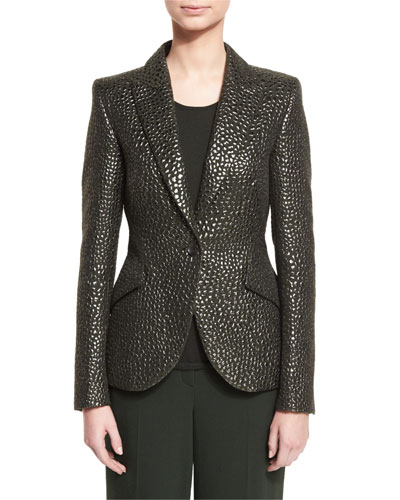 Eve Animal-Brocade One-Button Jacket, Fir