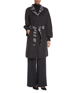 Reversible Zebra-Jacquard Coat, Flannel
