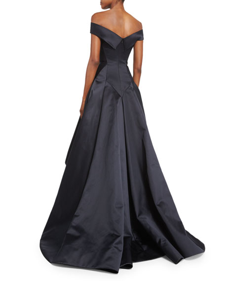 Off-the-Shoulder Pleated Ball Gown, Black