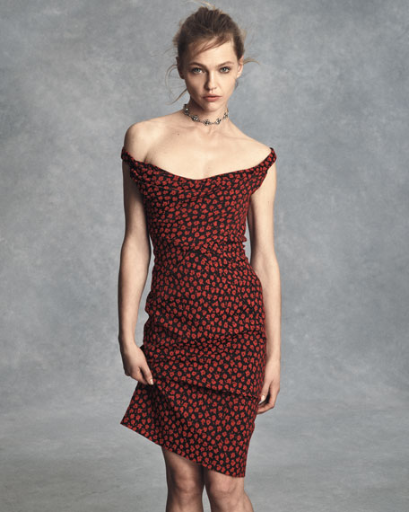 Fitted Floral-Print Cocktail Dress, Red/Multi