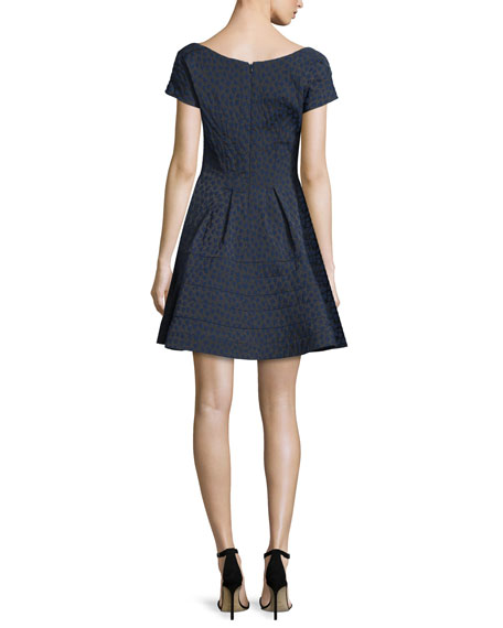 Cap-Sleeve Scoop-Neck Jacquard Cocktail Dress, Blue/Multi