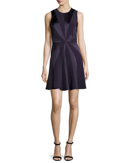 Cushnie Et Ochs Tallulah Sleeveless Starburst Dress, Aubergine