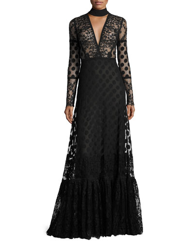 Long-Sleeve V-Cutout Lace Gown, Black