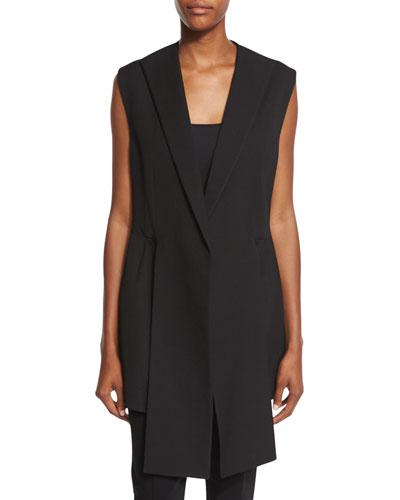 Front-Panel Long Vest, Black