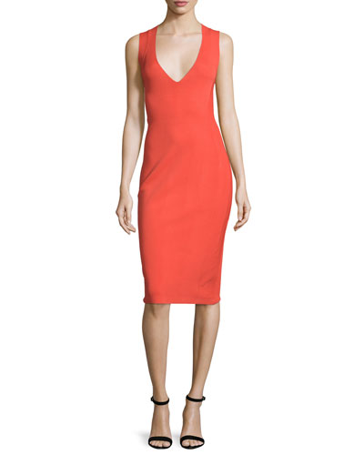 Sleeveless Knit Sheath Dress, Red
