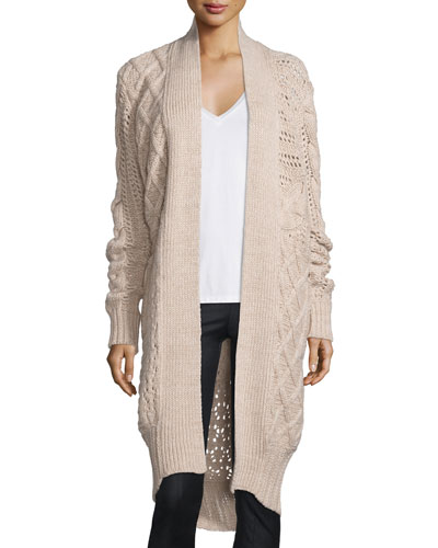 Belted Cable-Knit Cashmere Long Cardigan, Camel