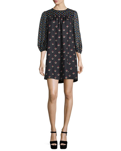 Tulip-Print 3/4-Sleeve Dress, Black/Multi
