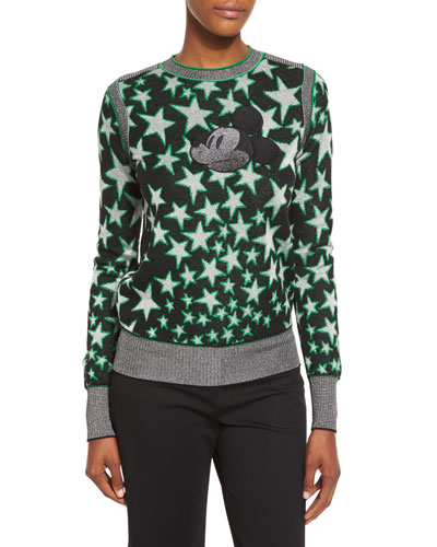 Mickey Mouse Star-Print Sweater, Black/Multi