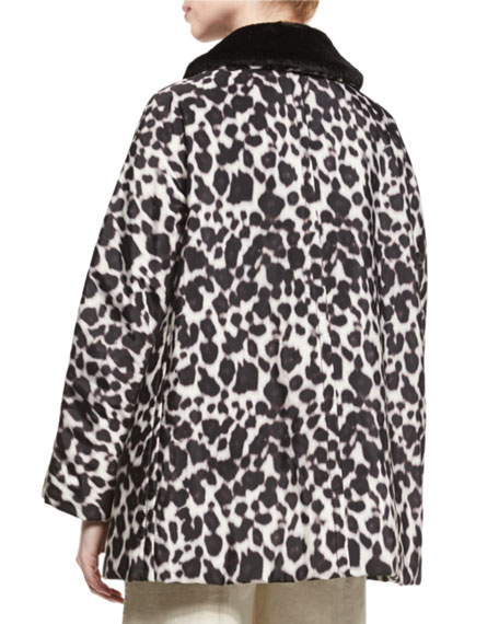 5018cced941a Marc Jacobs Leopard-Print Coat with Faux-Fur Collar, Ivory/Multi