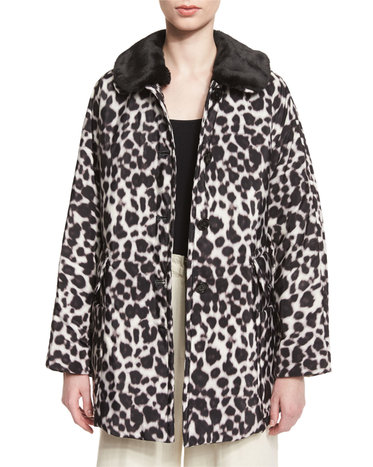 656eea6f76fe Marc Jacobs Leopard-Print Coat with Faux-Fur Collar, Ivory/Multi ...