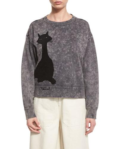 Cat-Print Crewneck Sweatshirt, Gray
