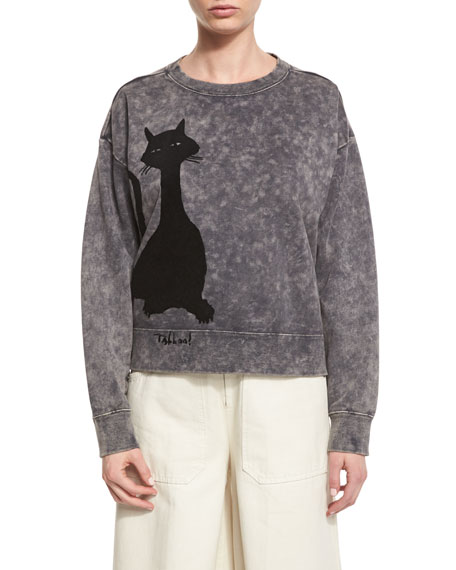 Marc Jacobs Cat-Print Crewneck Sweatshirt, Gray