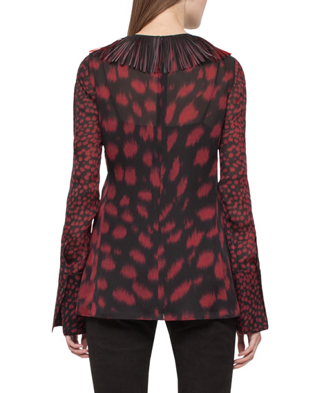 Embellished-Collar Cheetah-Print Blouse, Mangosteen/Black