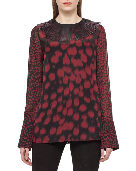 Akris Embellished-Collar Cheetah-Print Blouse, Mangosteen/Black