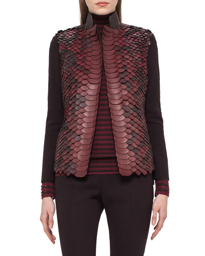 Python-Embellished Leather Jacket, Aubergine