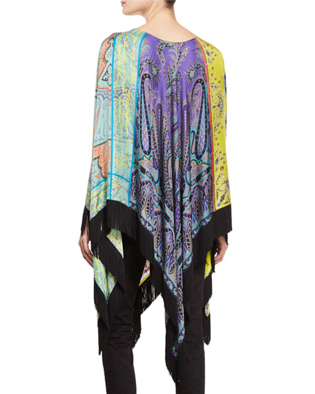 Printed Fringe-Trim Long Poncho, Citron