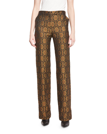 Medallion Wide-Leg Pants, Gold