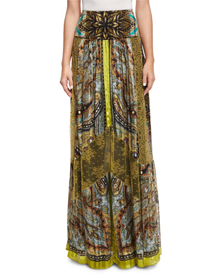 Etro Pleated Paisley Button-Front Tunic & Paisley Stud-Print