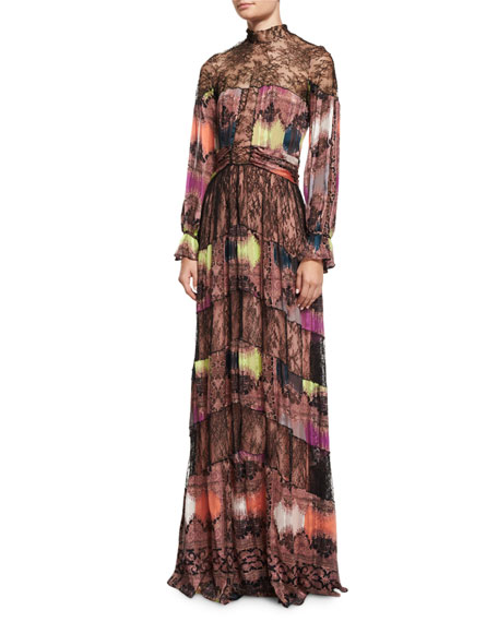 Etro Lace-Neck Paisley-Diamond Gown, Pink