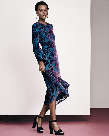 22e8d4255bd Etro Long-Sleeve Velvet Midi Dress