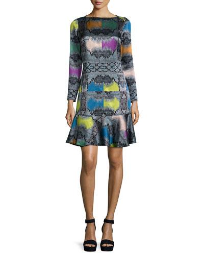 Paisley Diamond Long-Sleeve Flounce Dress, Rainbow