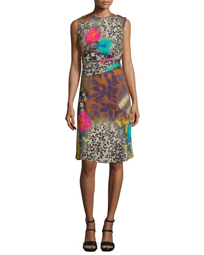 Draped Floral Sleeveless Dress, Multi