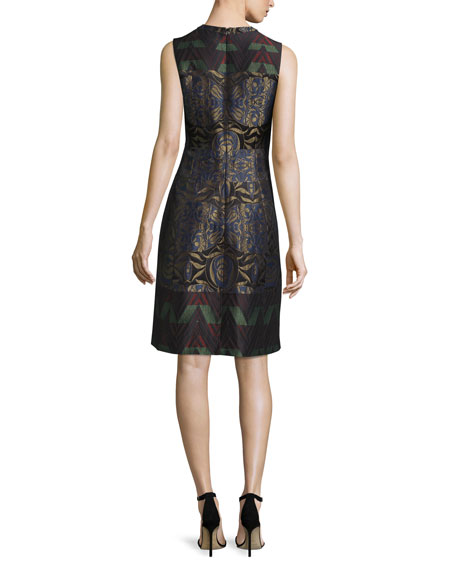 Metallic Floral Zigzag Sleeveless Dress, Navy Metallic