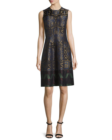 Etro Metallic Floral Zigzag Sleeveless Dress, Navy Metallic