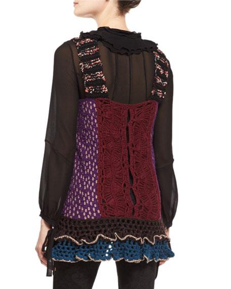 Ruffled-Hem Crochet Vest, Multi